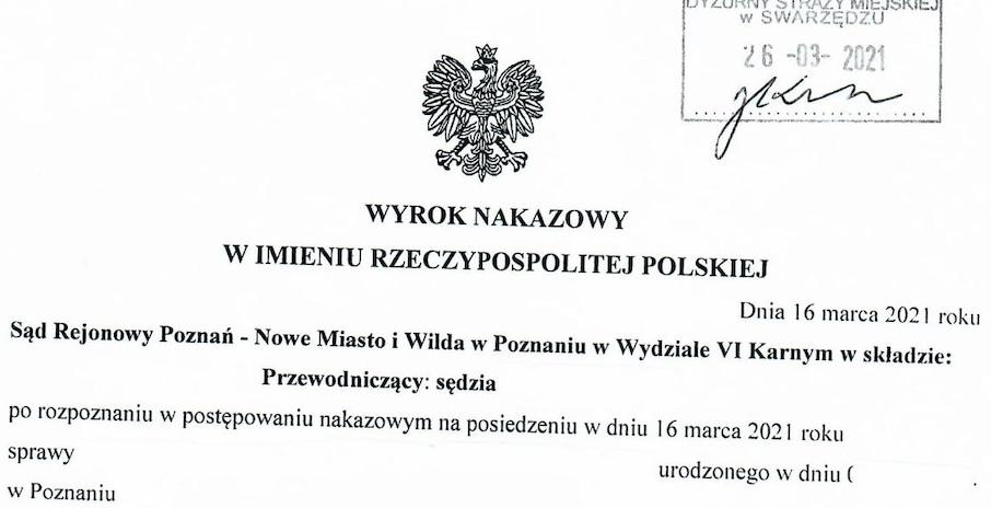 Wyrok za brak maseczki: 1000 złotych